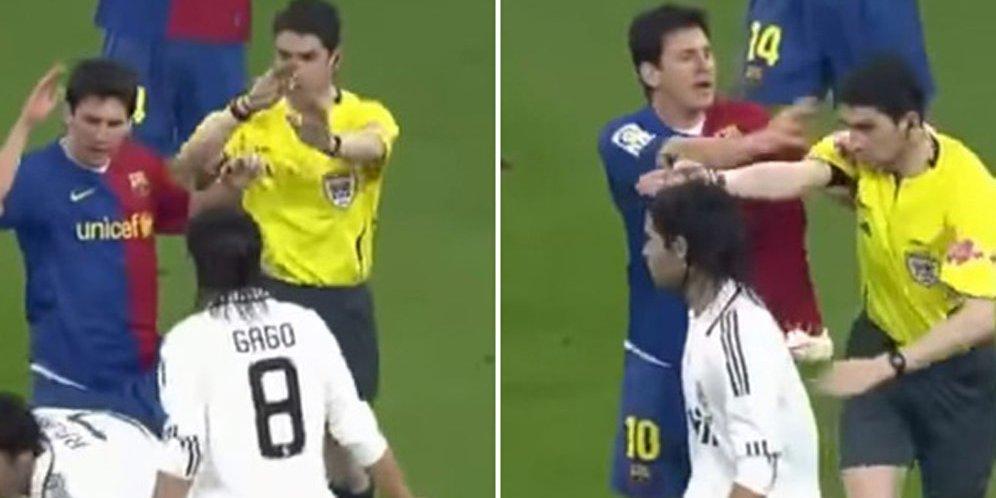 Messi Juga Pernah Dorong Wasit di Clasico, Tapi Lolos Sanksi